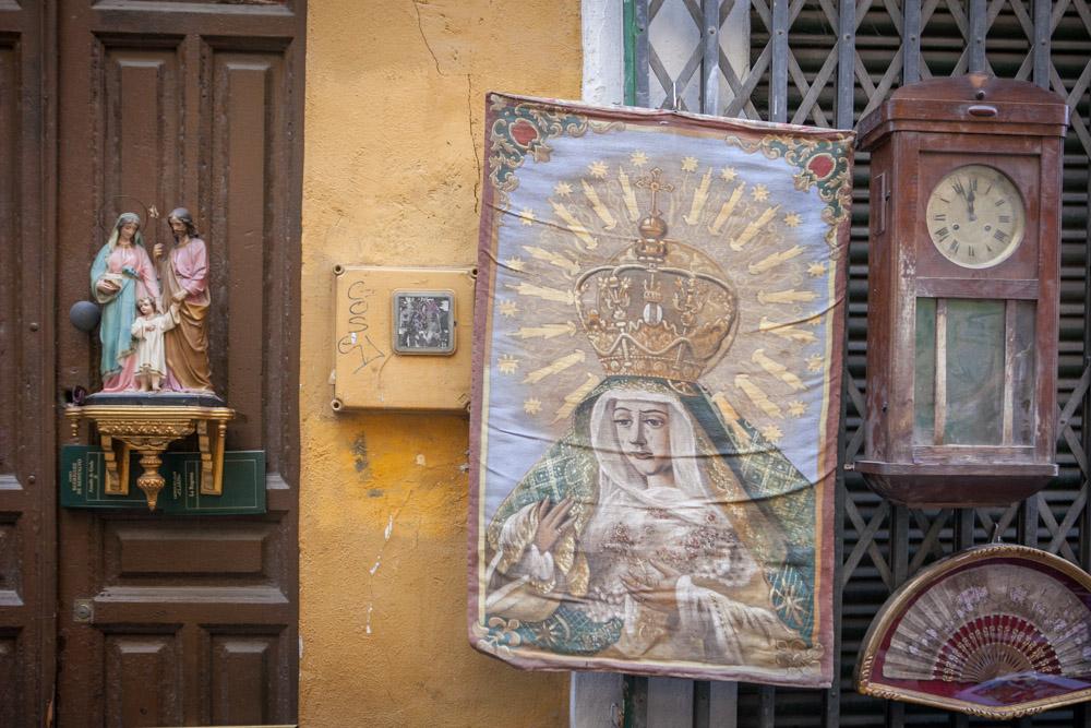 Flea market on the Feria street in Seville