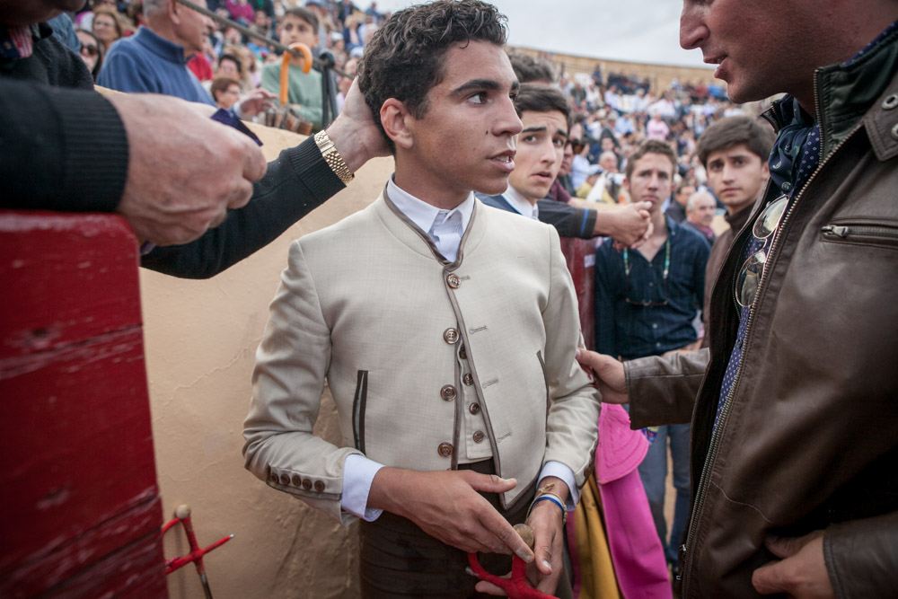 Young bullfighter, Adrian Centenera, after the bullfight in Osuna