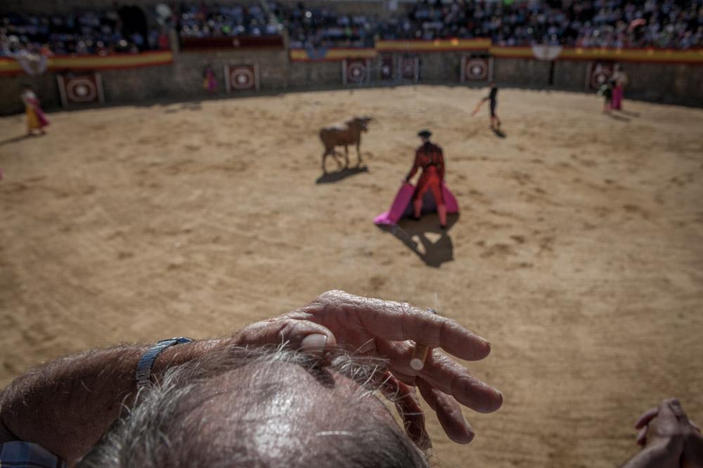 Novillada, an event for young bullfighters, in Villaluenga del Rosario