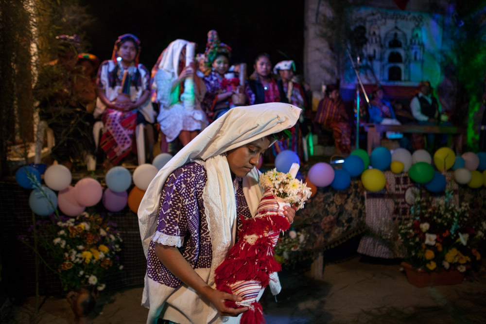 Juanita Cente, Maya queen of Mixco, at the election in La Económica Carranza